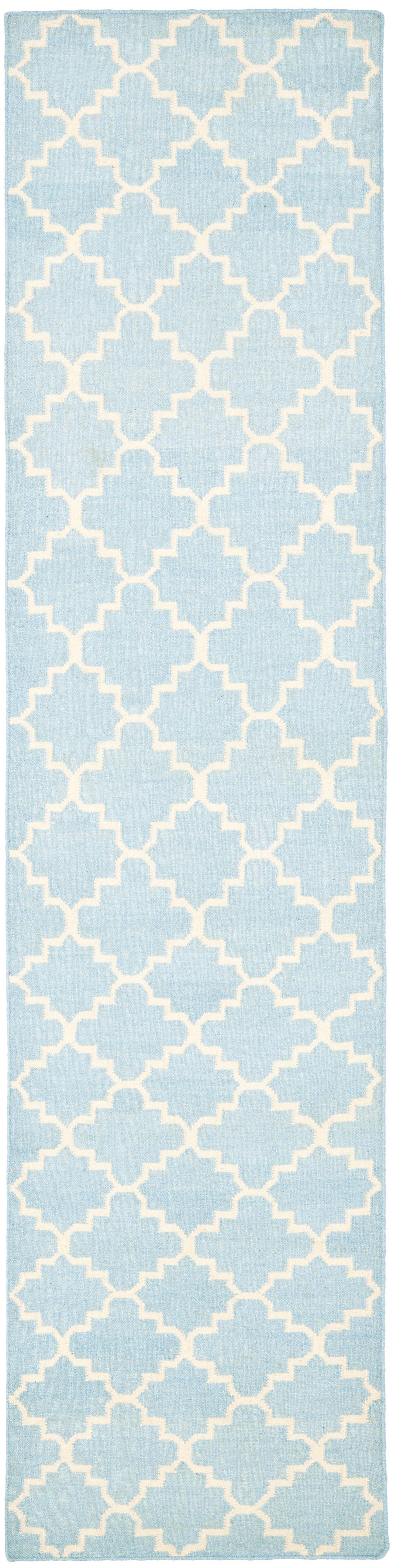 Danbury Hand-Woven Wool Light Blue/Ivory Area Rug Rug Size: Runner 2'6
