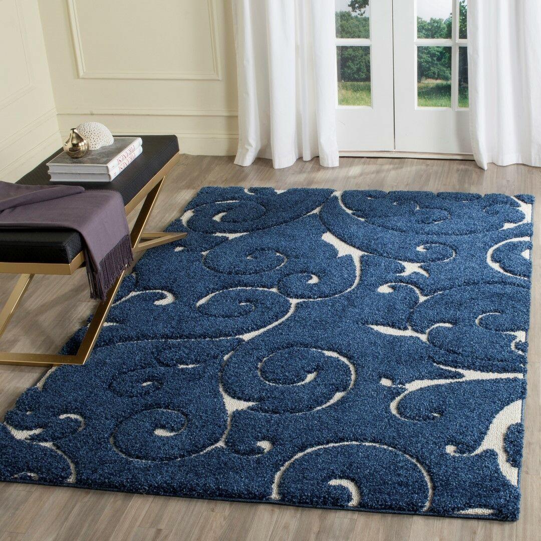 Alison Light Blue/Cream Area Rug Rug Size: Rectangle 6' x 9'
