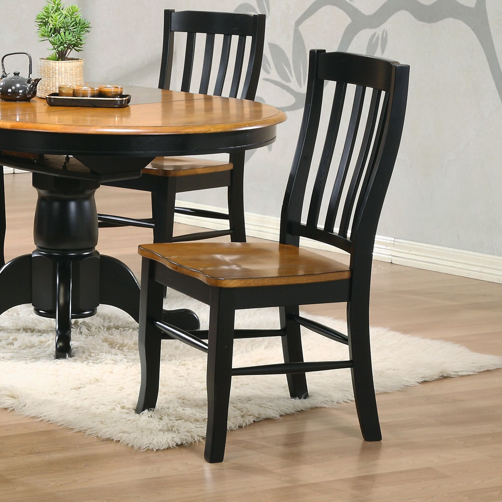Courtdale Back Solid Wood Dining Chair (Set of 2) Finish: Almond / Ebony