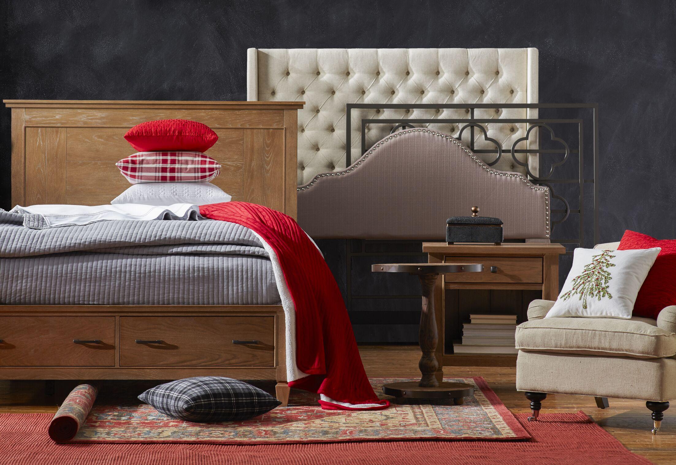 Crawley Upholstered Wingback Headboard Size: King, Upholstery: Dark Gray
