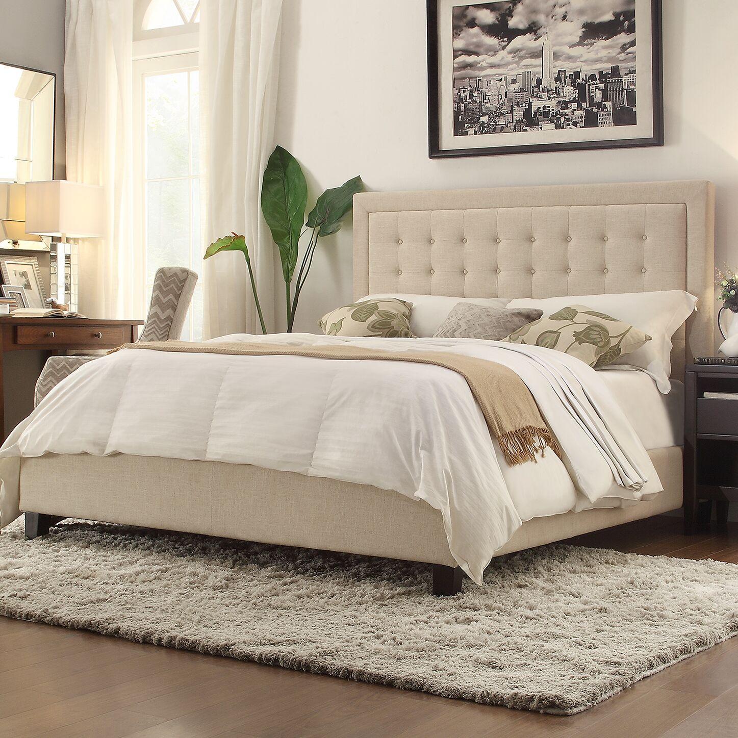 Sefton Upholstered Panel Bed Color: Beige, Size: Queen