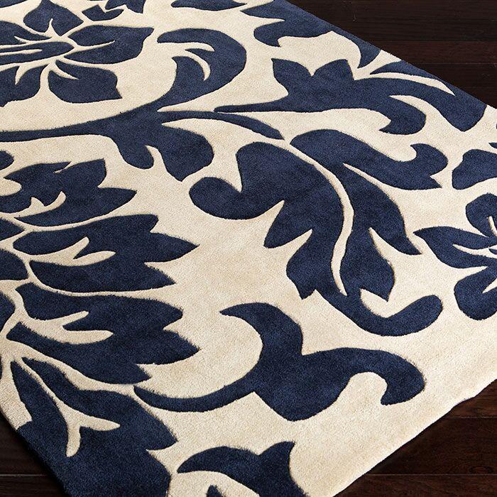 Darien Putty/Midnight Blue Rug Rug Size: Rectangle 3'6