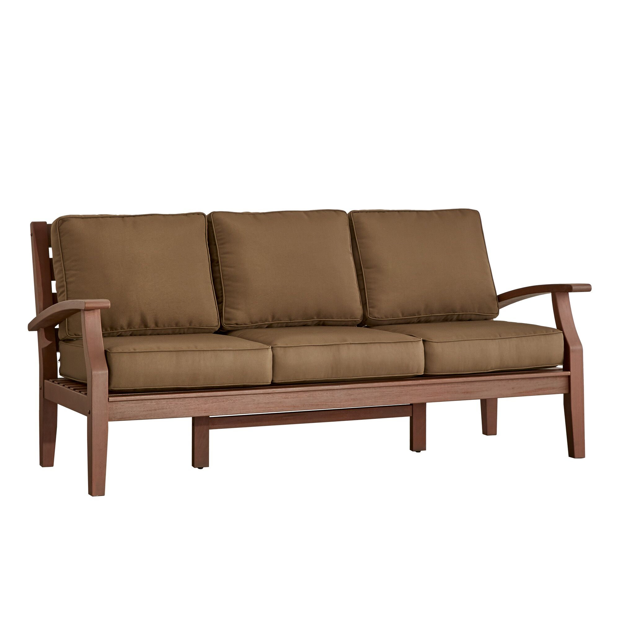 Brook Hollow Sofa with Cushion Fabric: Brown, Finish: Brown