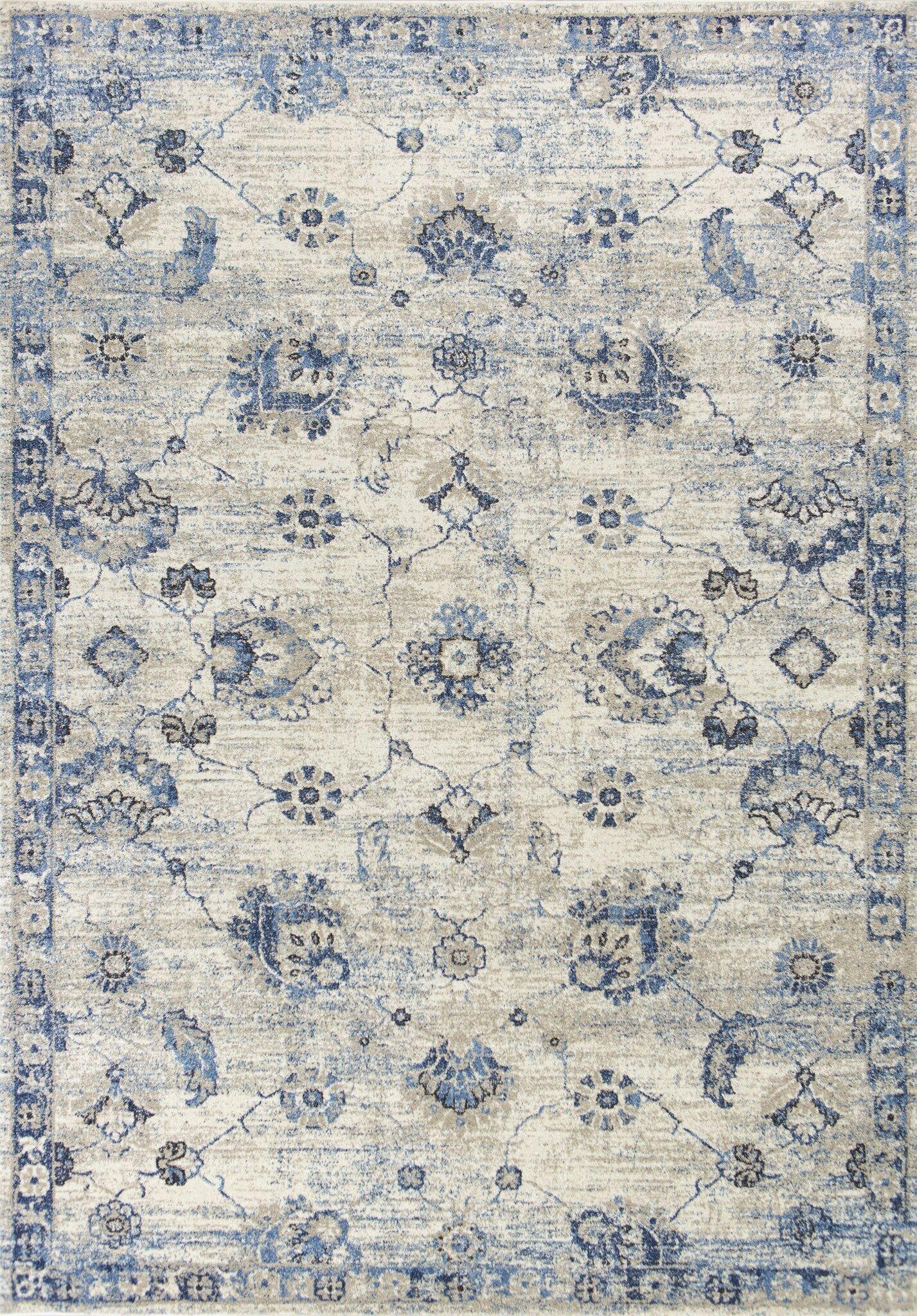 Diane Gray/Blue Area Rug Rug Size: Rectangle 5'3