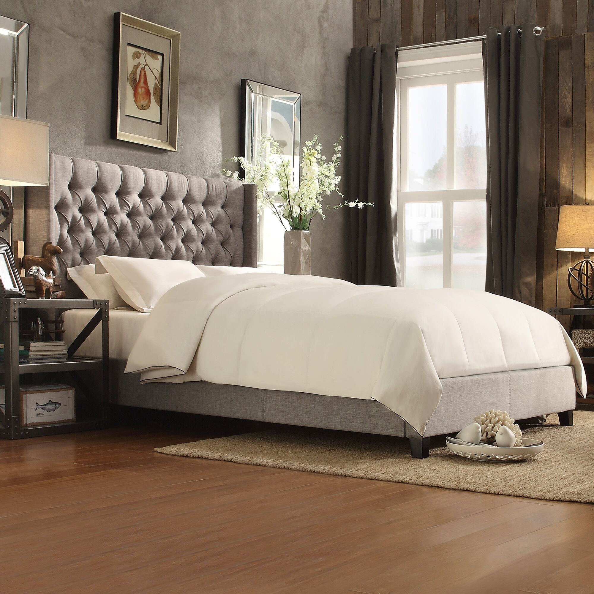 Declare Upholstered Panel Bed Color: Beige, Size: Full