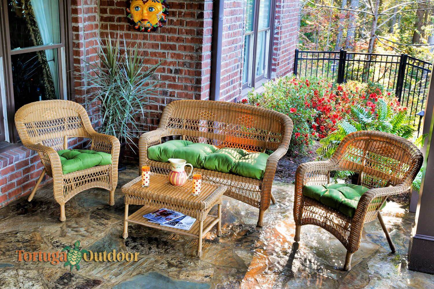 Baden 4 Piece Sofa Set with Cushions Fabric: Monti Leaf, Color: Amber