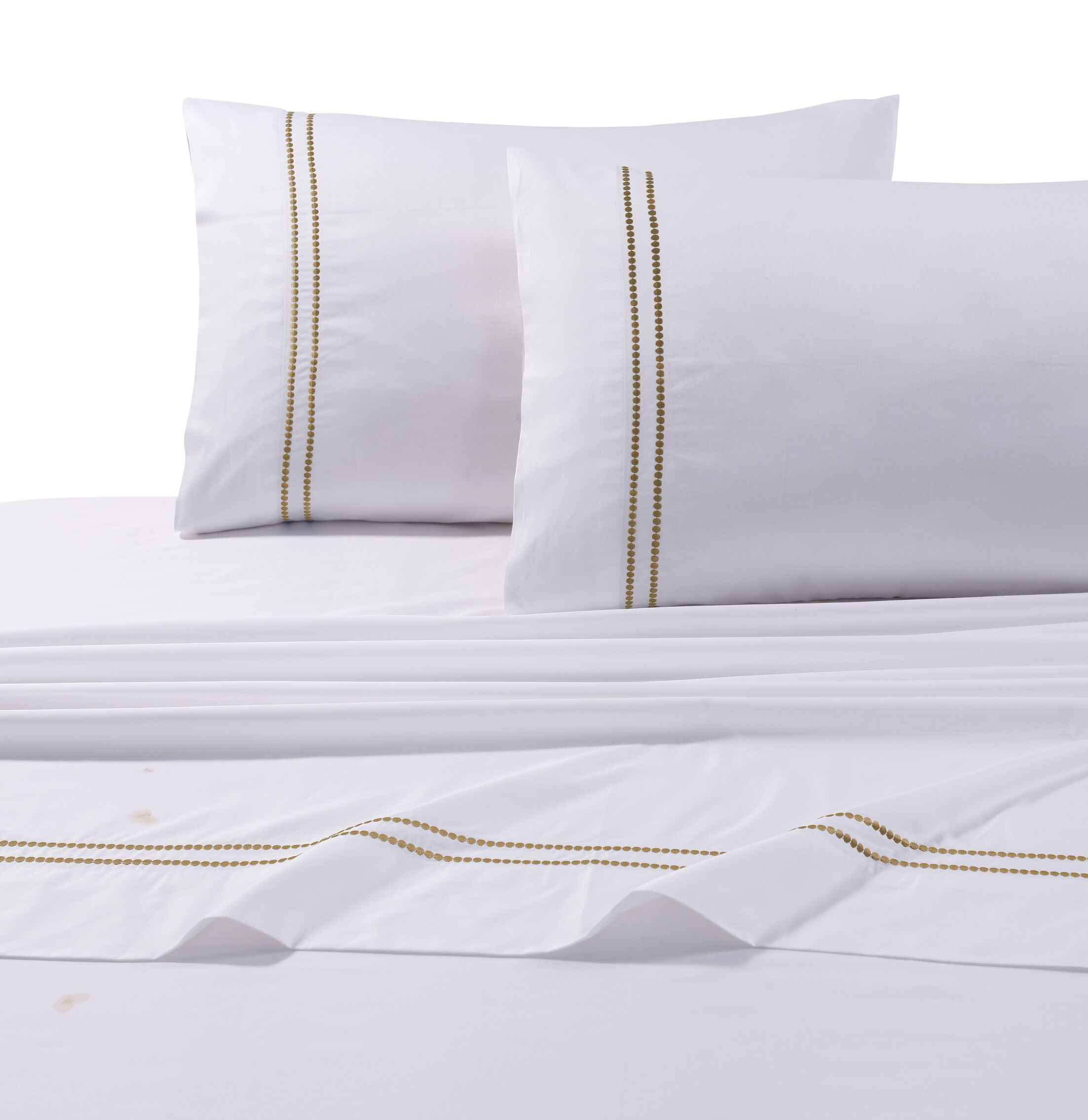 Bridger 400 Thread Count Dot Embroidered Cotton Deep Pocket Sheet Set Size: King, Color: Gold