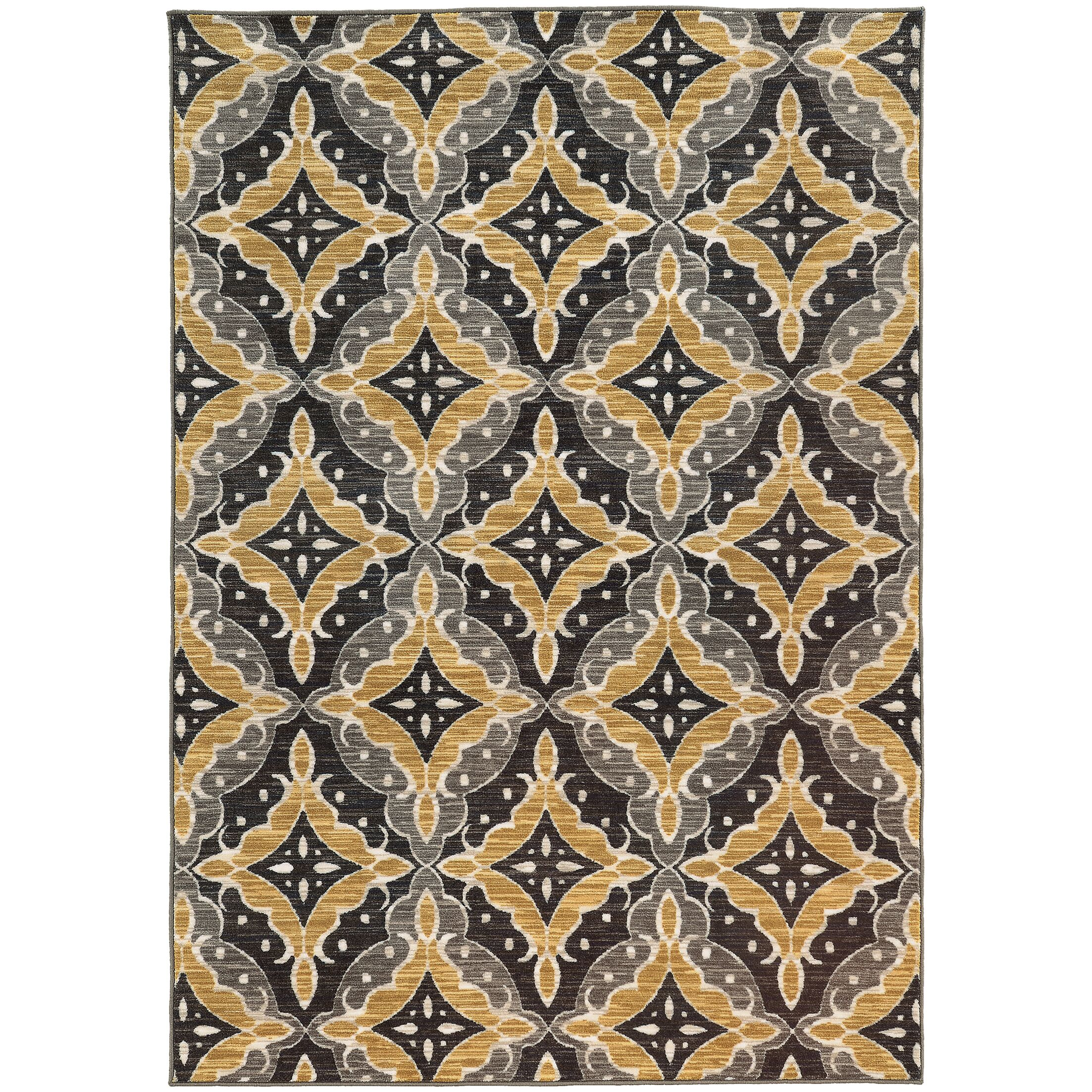 Fairborn Floral Charcoal/Gold Area Rug Rug Size: Rectangle 6'7