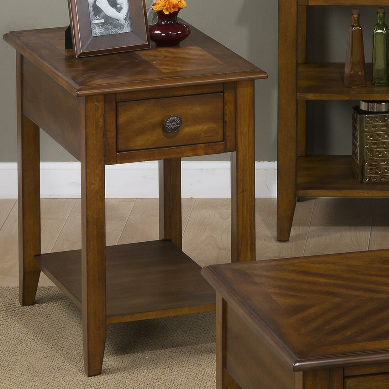 Hadley End Table With Storage� Color: Medium Brown