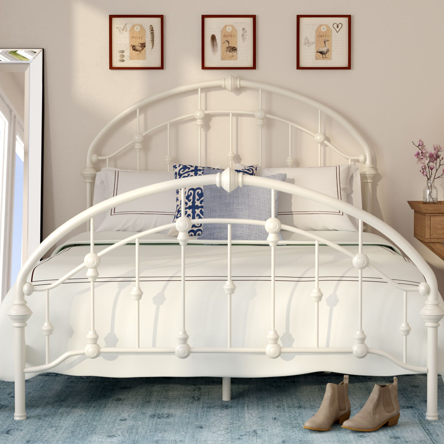 Emmalina Panel Bed Size: Full, Color: Antique White