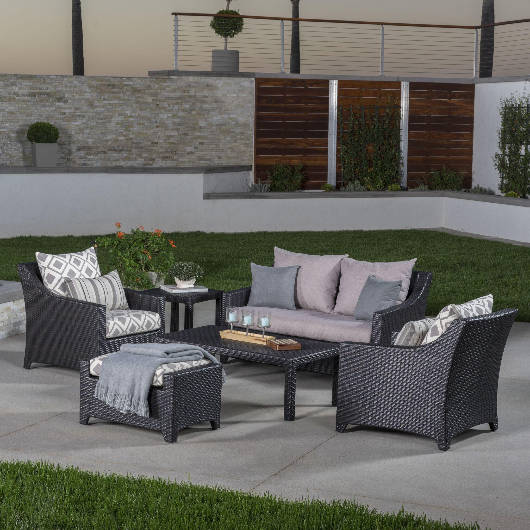 Northridge 6 Piece Rattan Sunbrella Sofa Set with Cushions Fabric: Wisteria Lavender