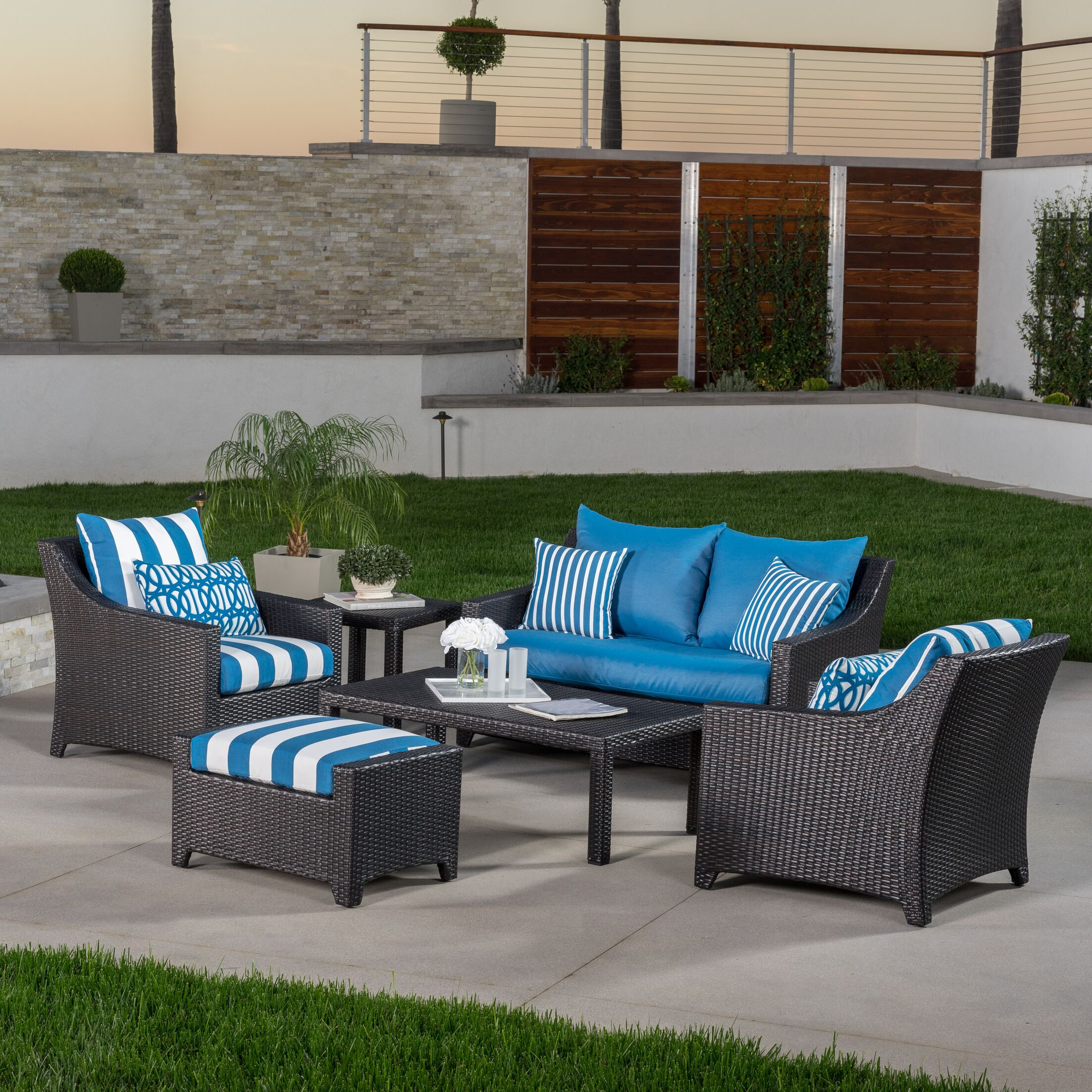 Northridge 6 Piece Rattan Sunbrella Sofa Set with Cushions Fabric: Regatta Blue