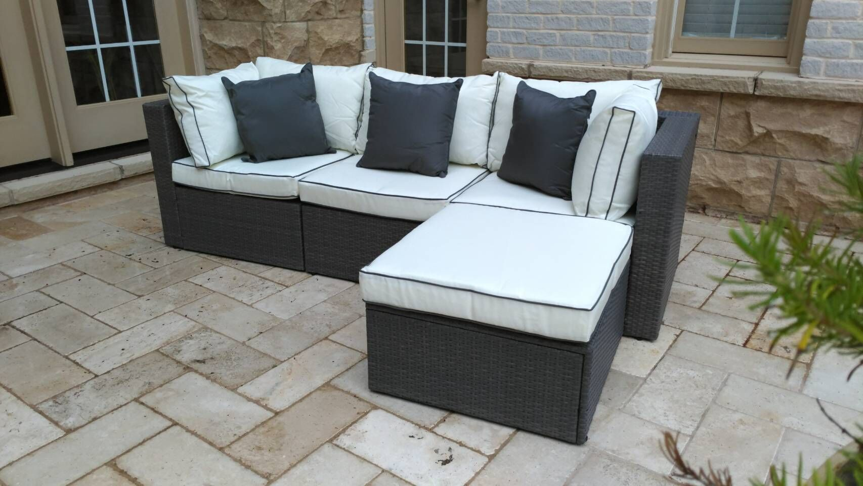 Burruss Patio Sectional with Cushions Fabric: Off-White/ Gray