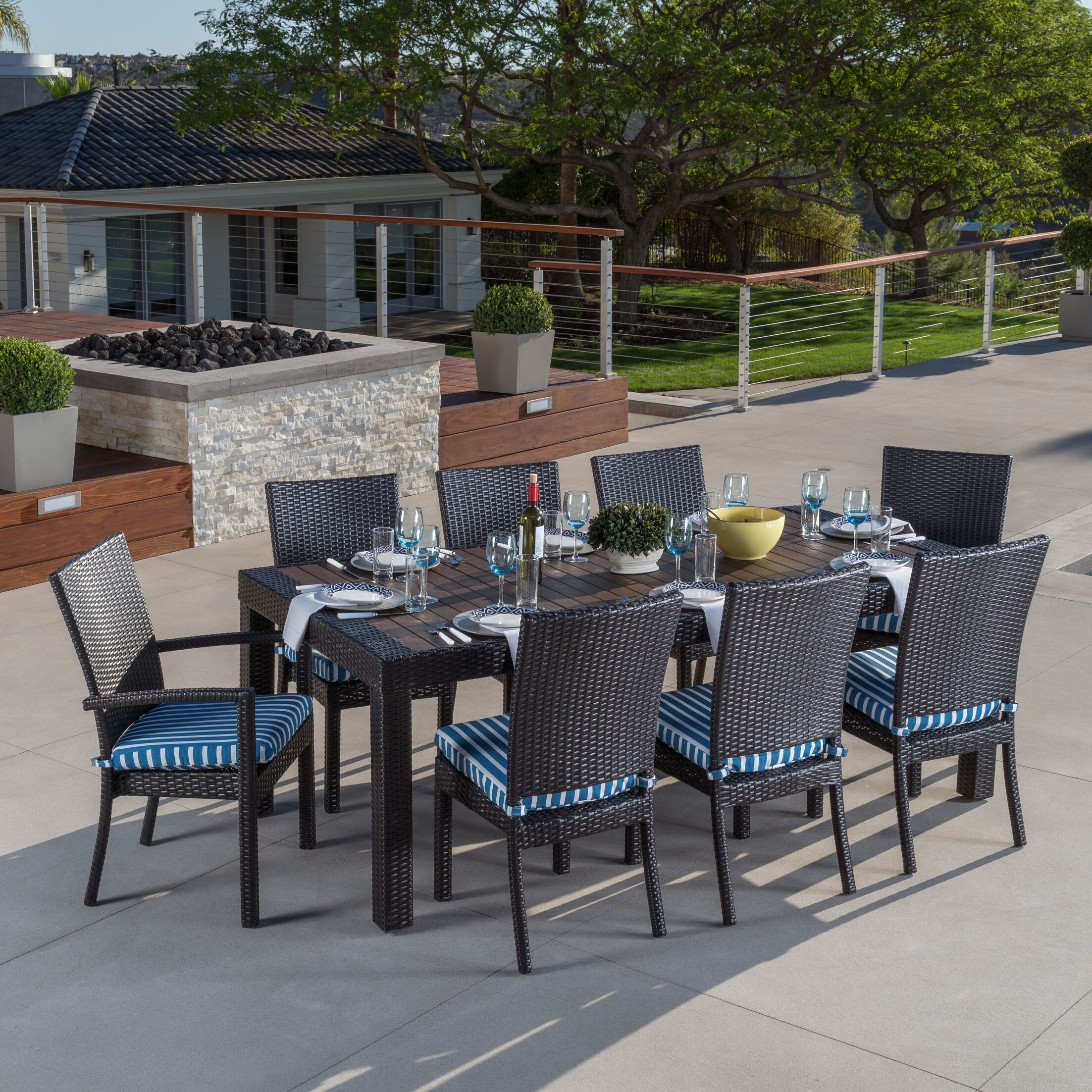 Evansville 9 Piece Outdoor Dining Set with Cushion Color: Blue Stripe