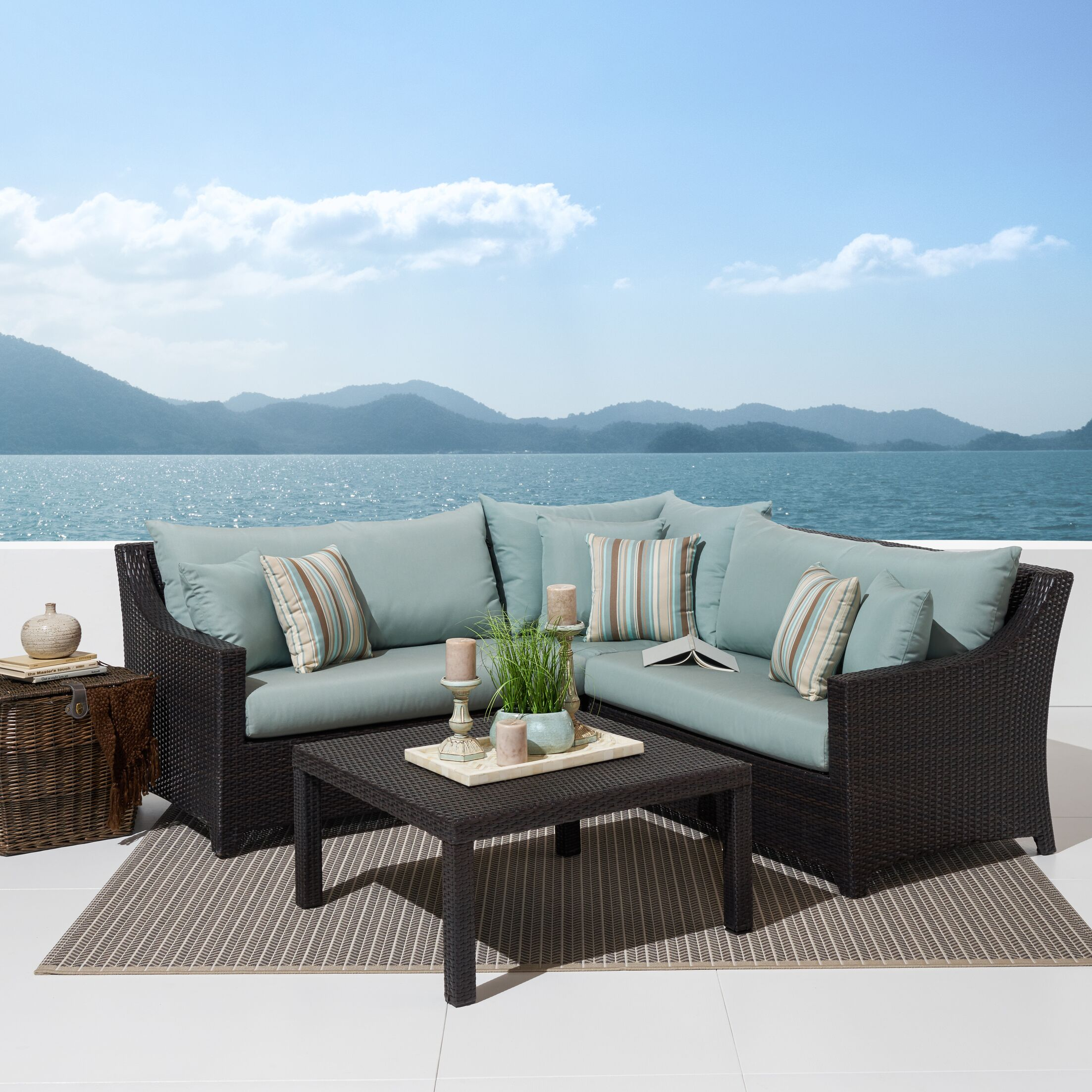 Northridge 4 Piece Sunbrella Sectional Seating Group with Cushions Fabric: Bliss Blue
