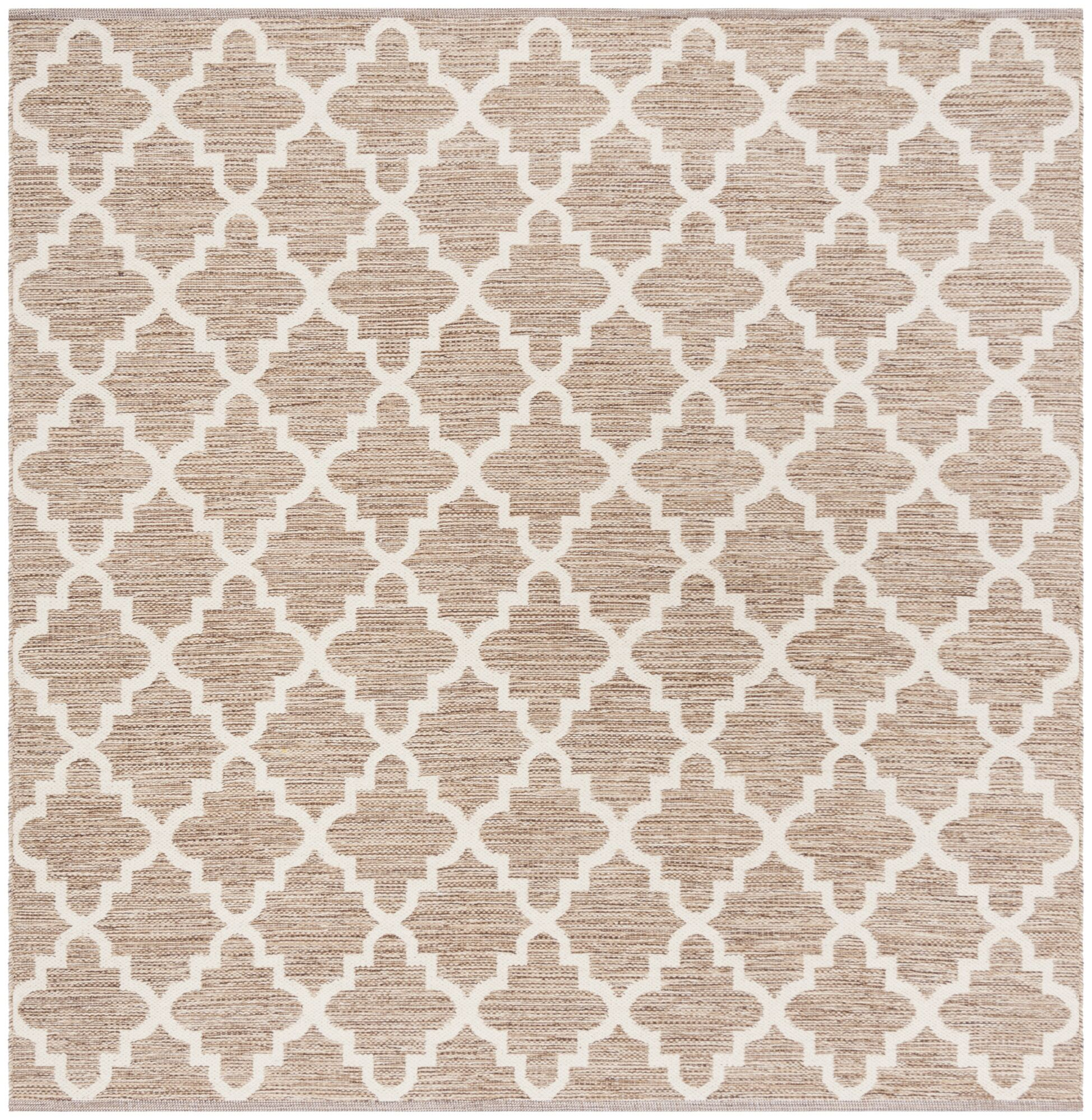 Eberhardt Hand-Woven Beige/Ivory Area Rug Rug Size: Square 6'