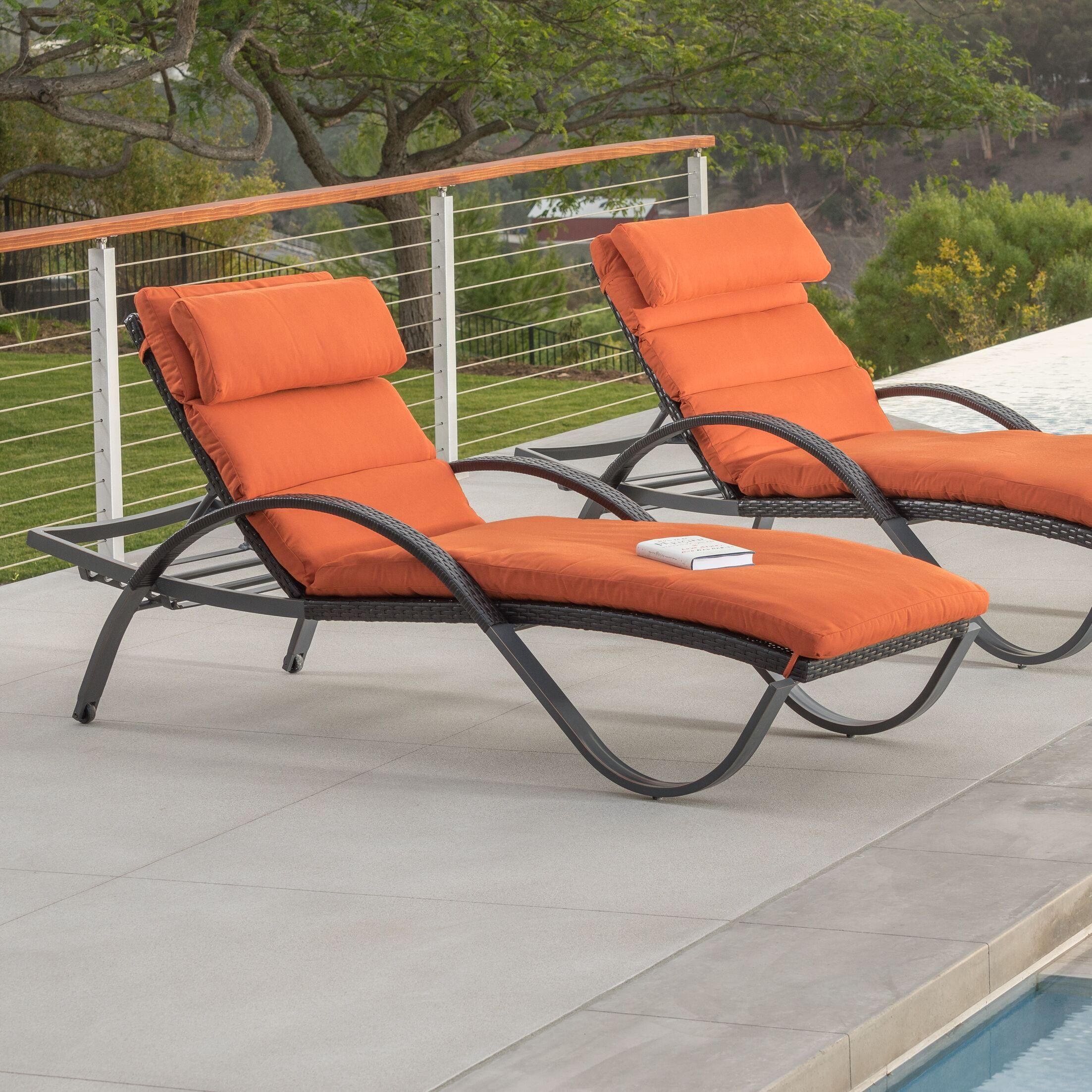 Northridge Chaise Lounge with Cushion Color: Tika Orange