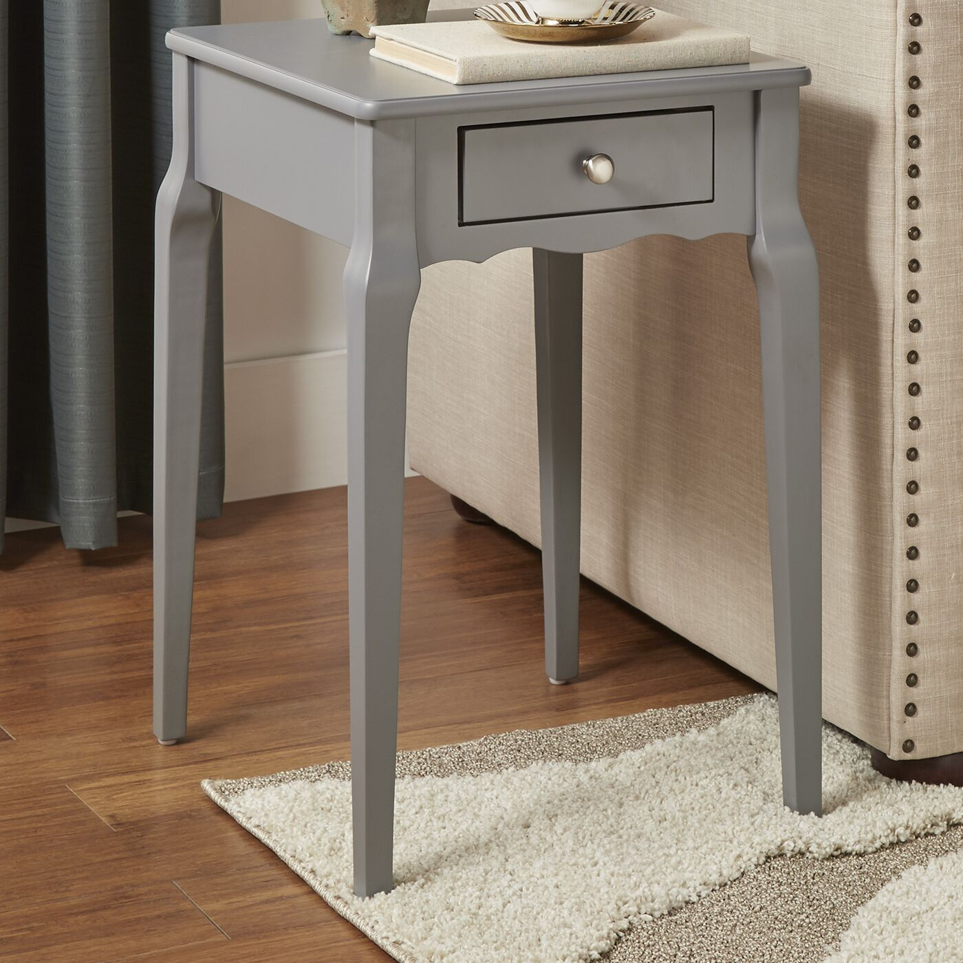 Pinckney End Table With Storage� Color: Frost Grey