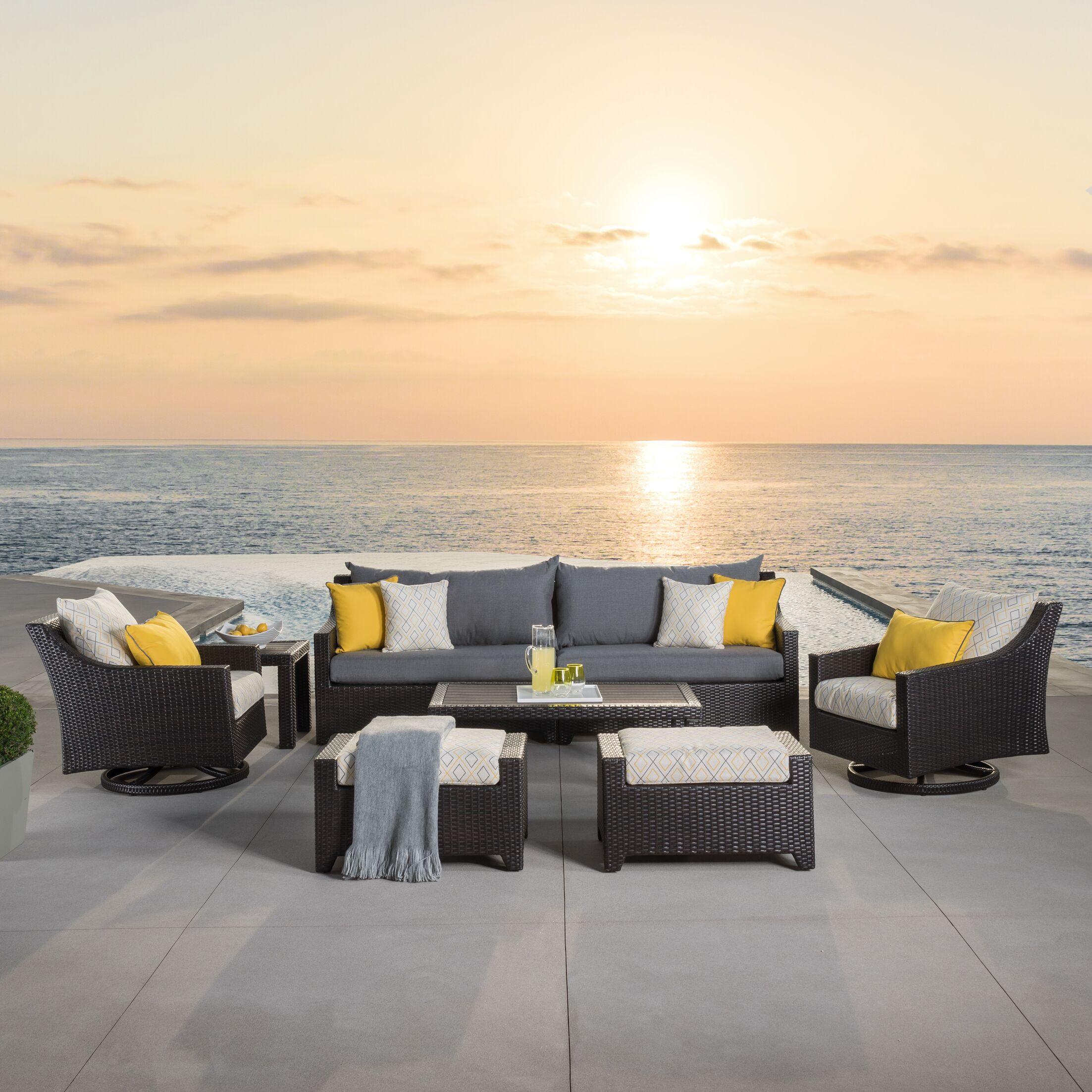 Northridge 8 Piece Sofa Set with Cushions Fabric: Yellow Deluxe