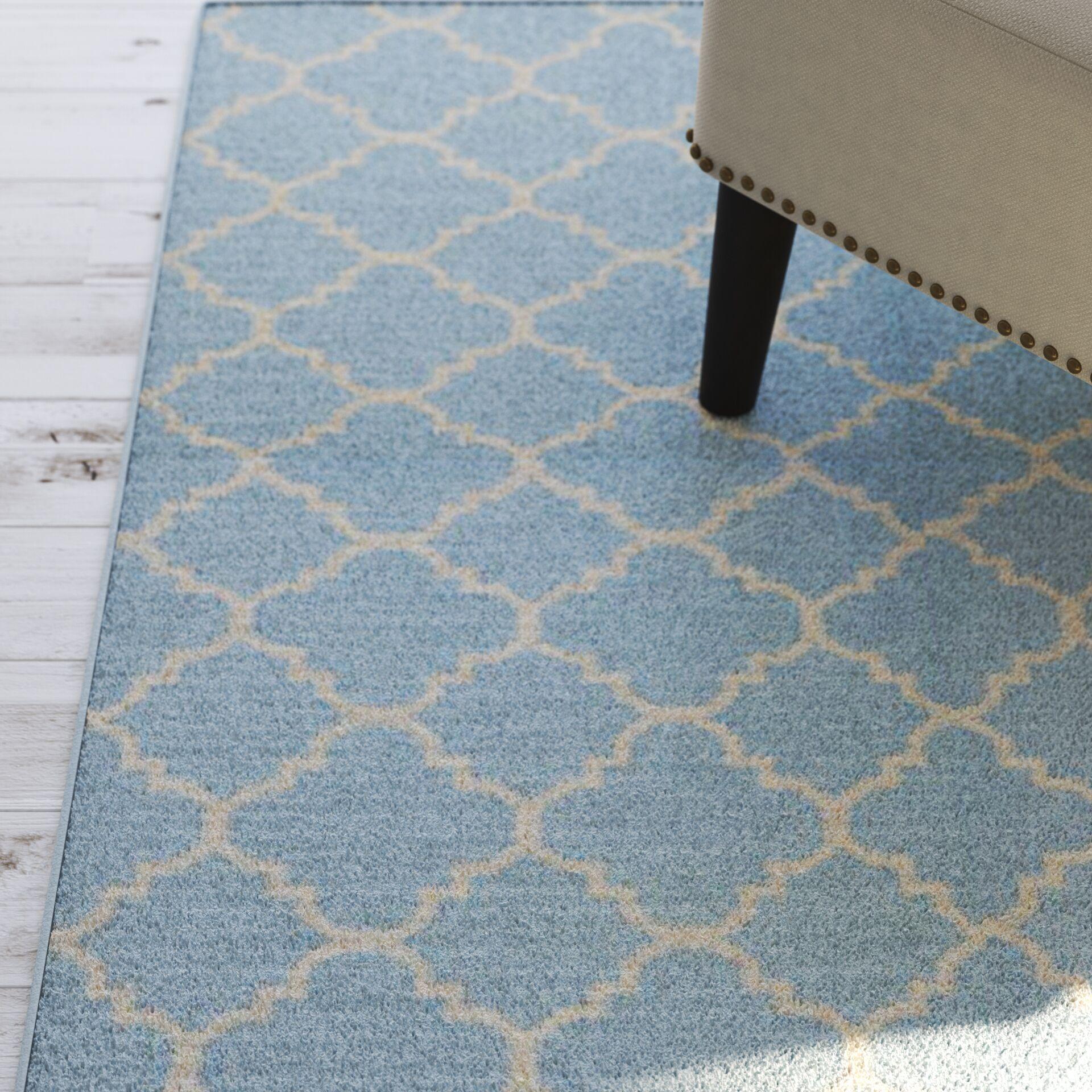 Danbury Hand-Woven Wool Light Blue/Ivory Area Rug Rug Size: Rectangle 4' x 6'