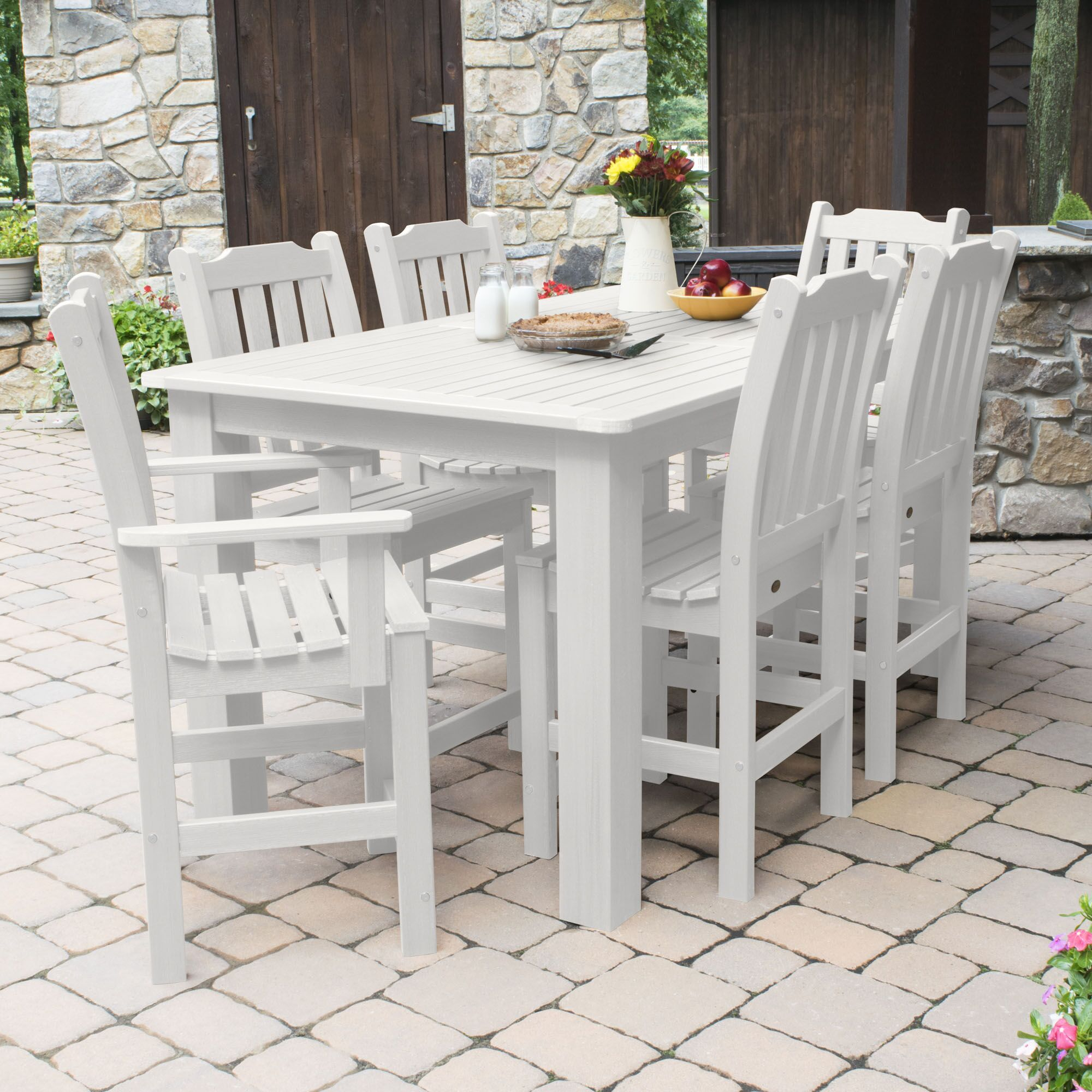 Billups 7 Piece Dining Set Color: White, Table Top Size: 43.3'' H x 55.5'' W x 98.5'' L