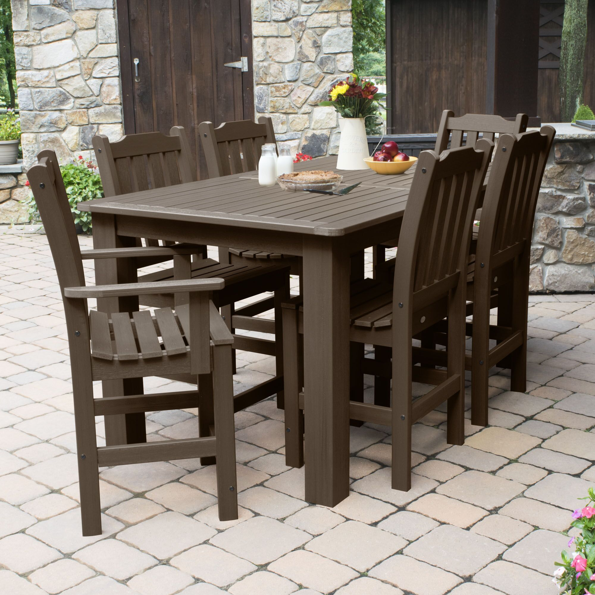 Billups 7 Piece Dining Set Color: Weathered Acorn, Table Top Size: 43.3'' H x 55.5'' W x 86.5'' L