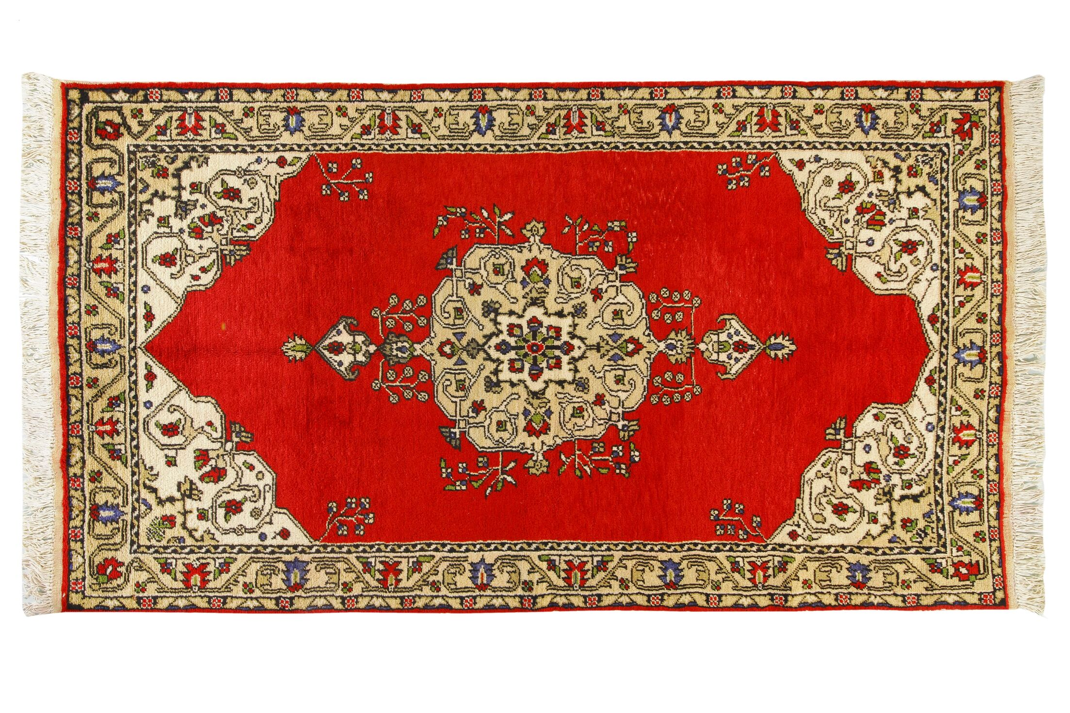 Oriental Hand-Knotted Cream/Red Area Rug