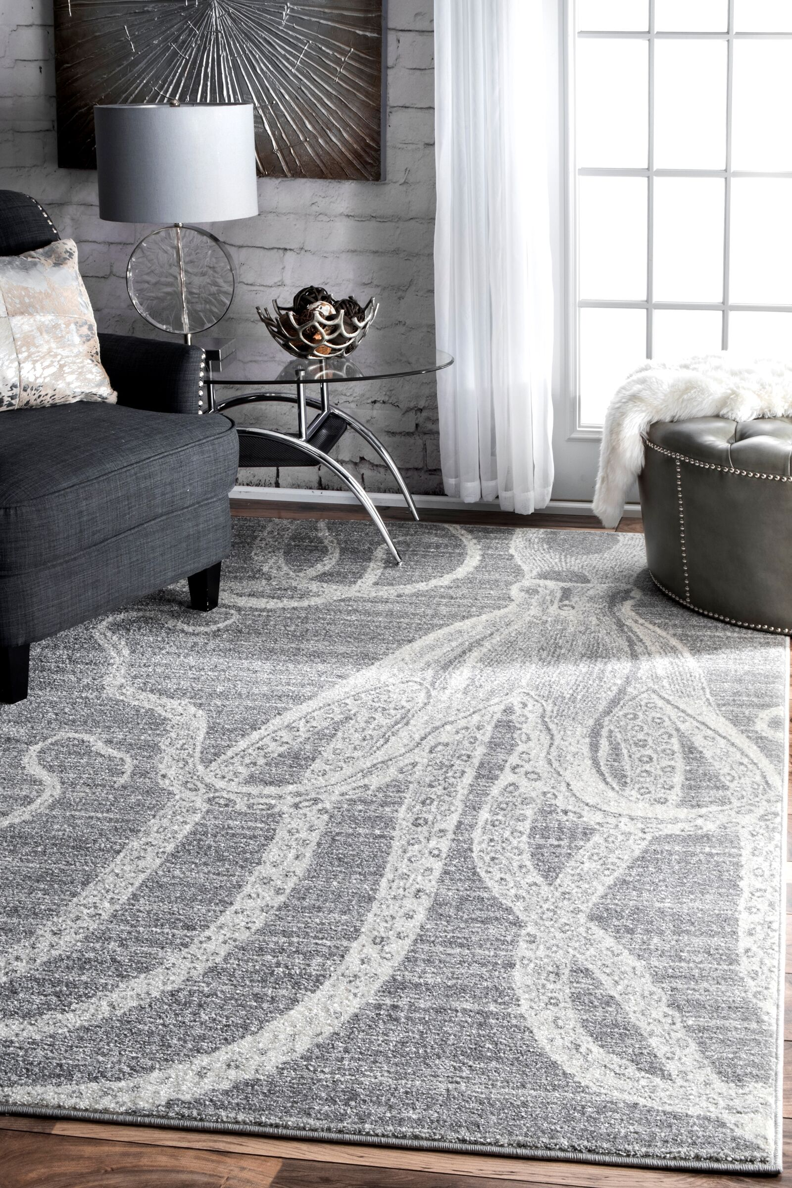 Gray/White Area Rug Rug Size: Rectangle 5' x 8'