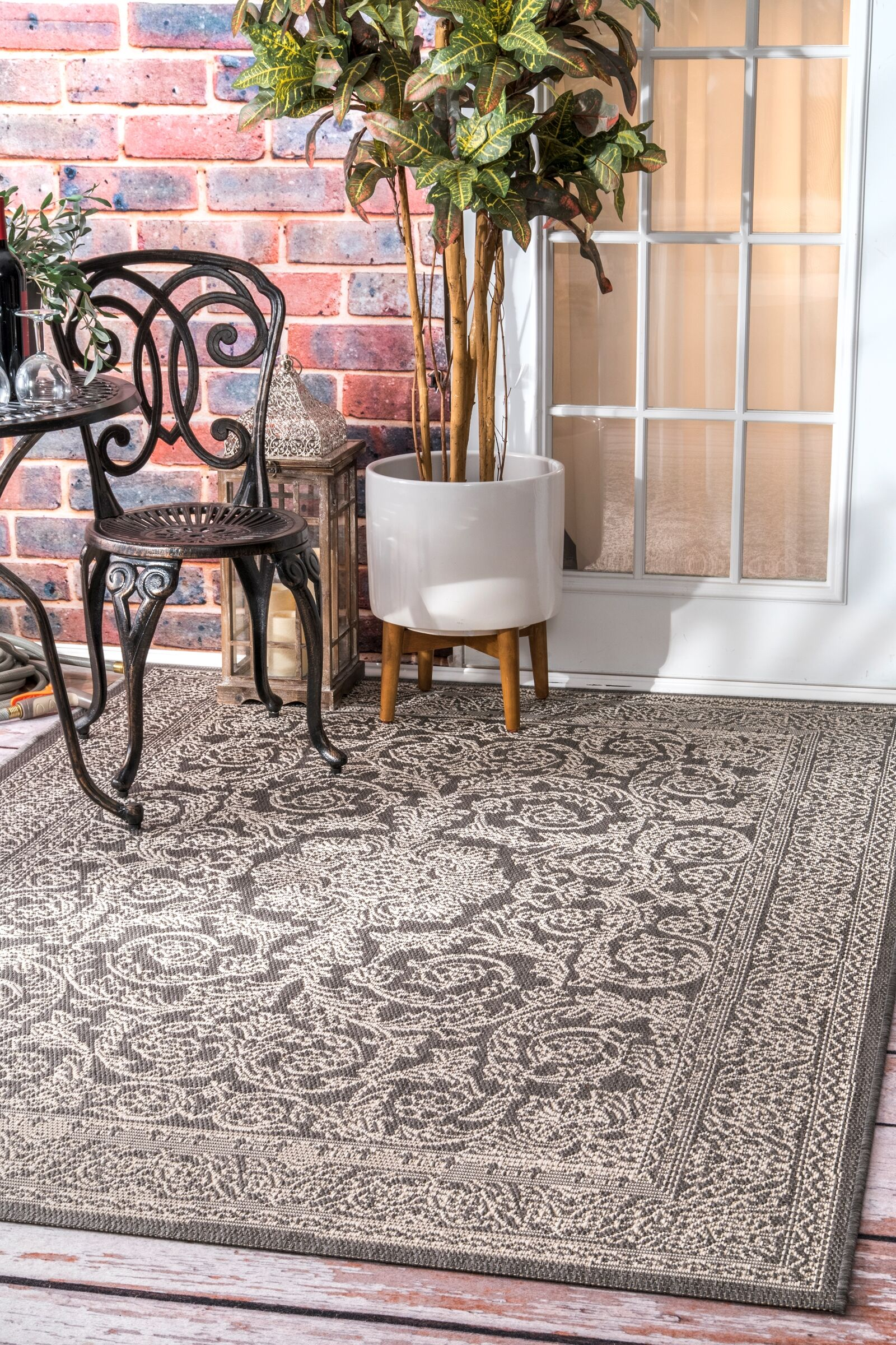 Gray/Black Indoor/Outdoor Area Rug Rug Size: Rectangle 6'3