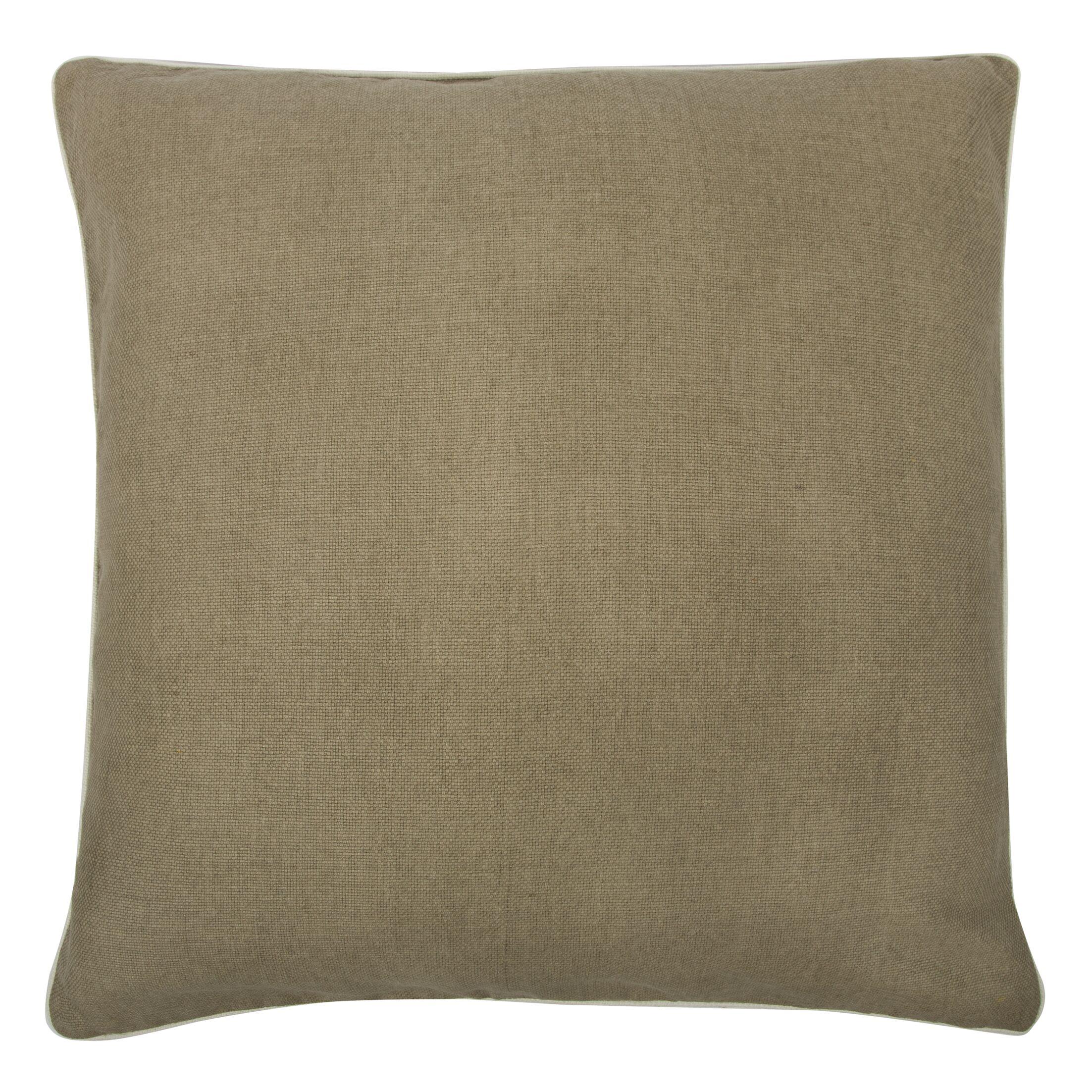 Fragments Solid Alcazar Cotton Throw Pillow Color: Mushroom