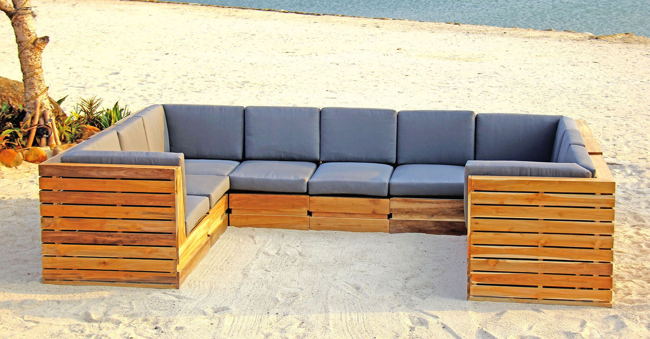 Seaside 9 Piece Teak Sunbrella Sectional Set with Cushions Fabric: Air Blue
