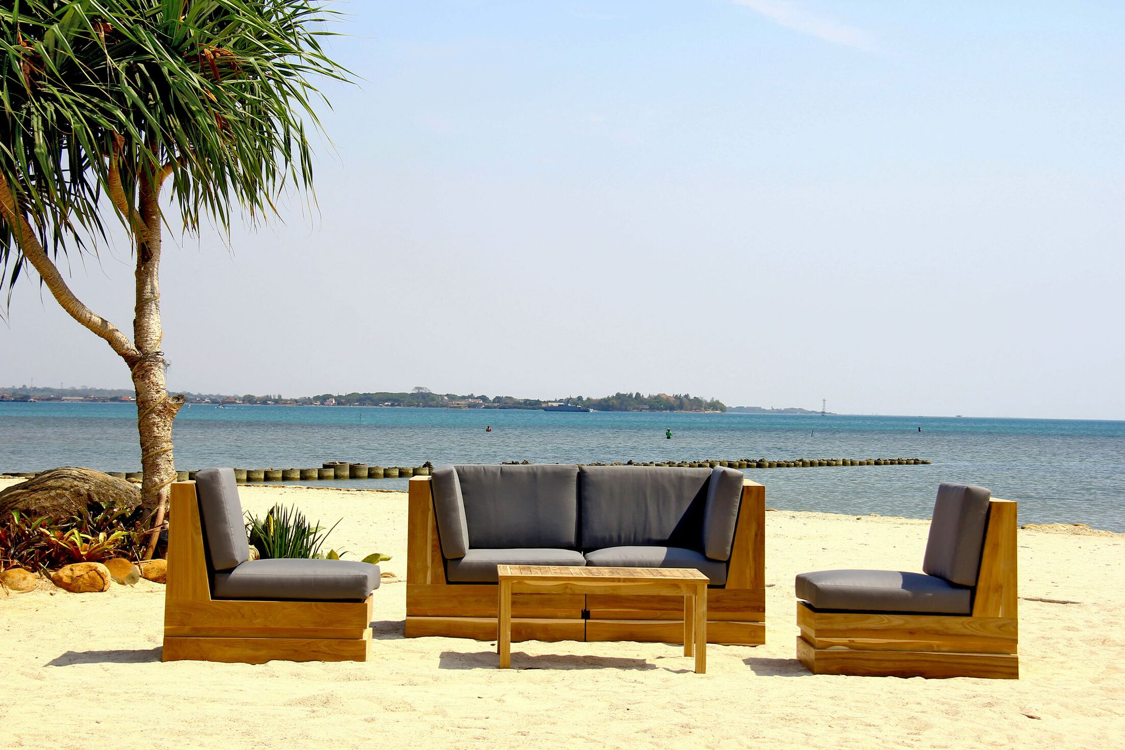 Seaside 5 Piece Teak Sunbrella Sofa Set with Cushions Fabric: Ginko