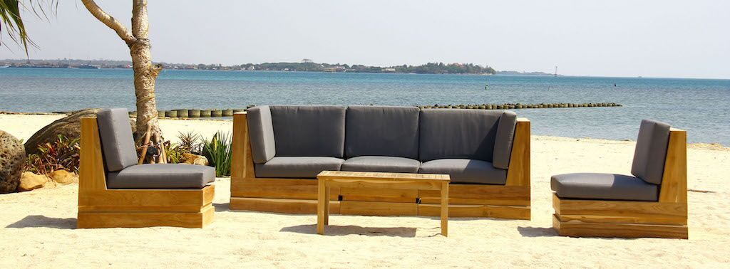 Seaside 5 Piece Teak Sunbrella Sectional Set with Cushions Fabric: Charcoal