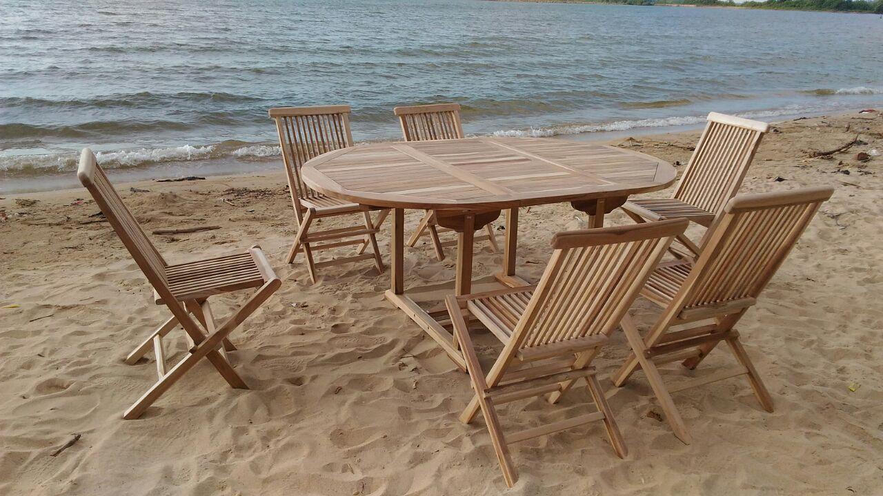 Teak 7 Piece Sunbrella Dining Set with Cushions Cushion Color: Ginko