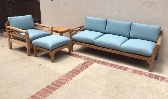 Malibu 4 Piece Teak Sunbrella Sofa Set with Cushions Fabric: Echo Sangria