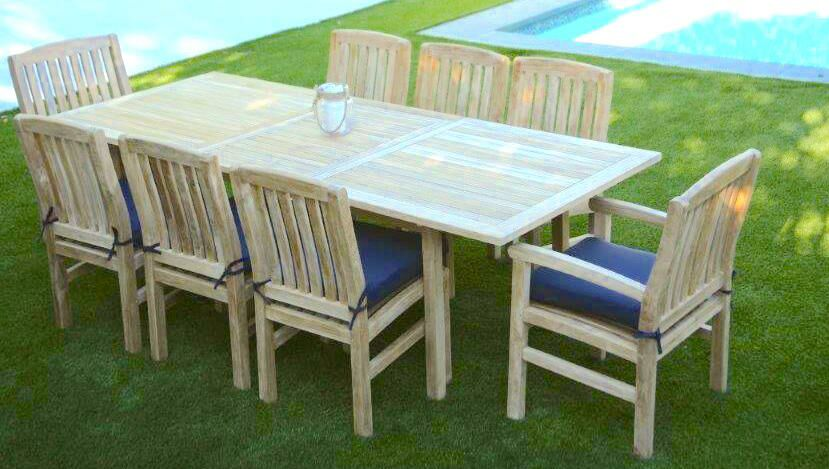 Waterford 9 Piece Teak Dining Set with Sunbrella Cushions Cushion Color: Ginko