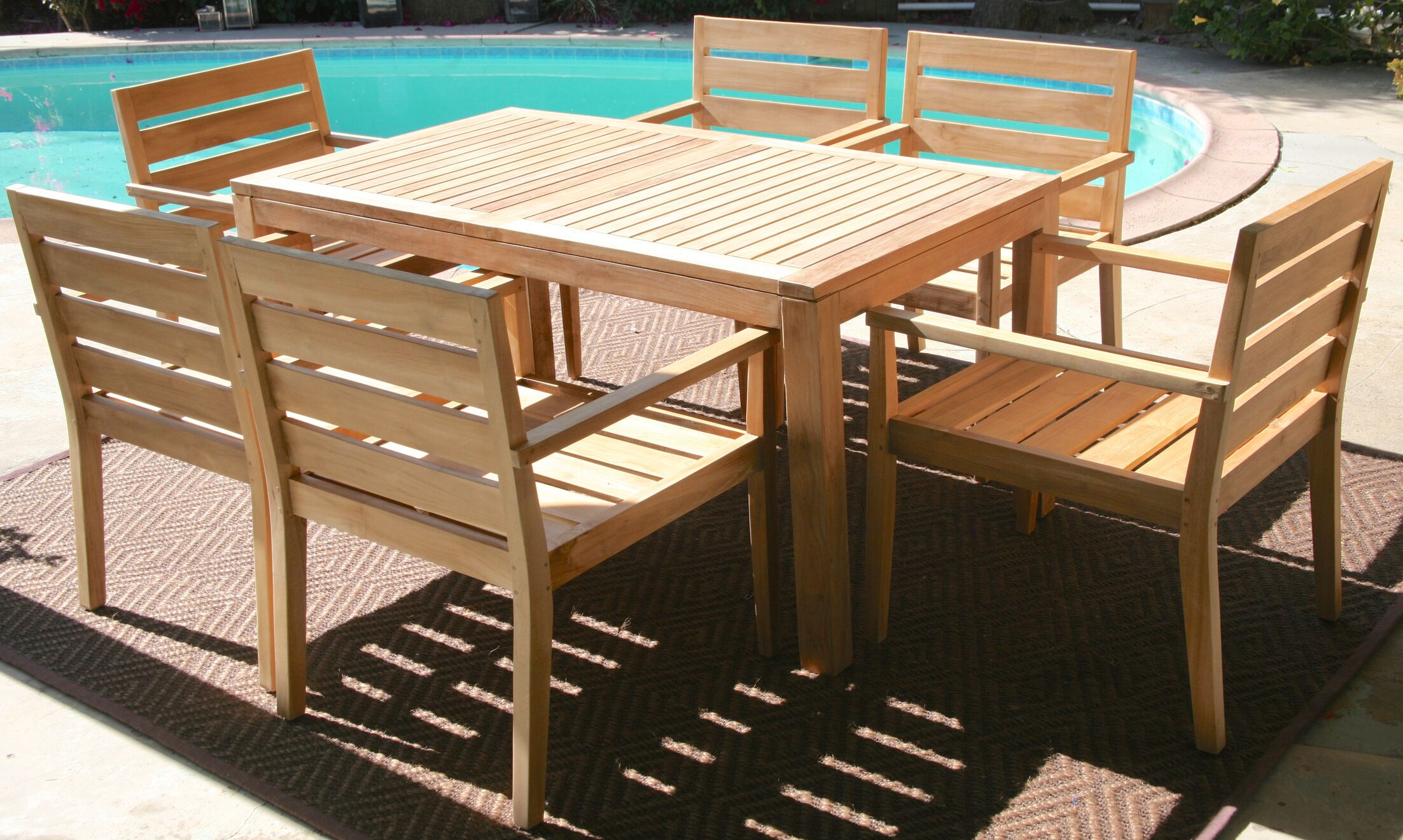 Waterford 7 Piece Teak Dining Set with Sunbrella Cushions Cushion Color: Natural