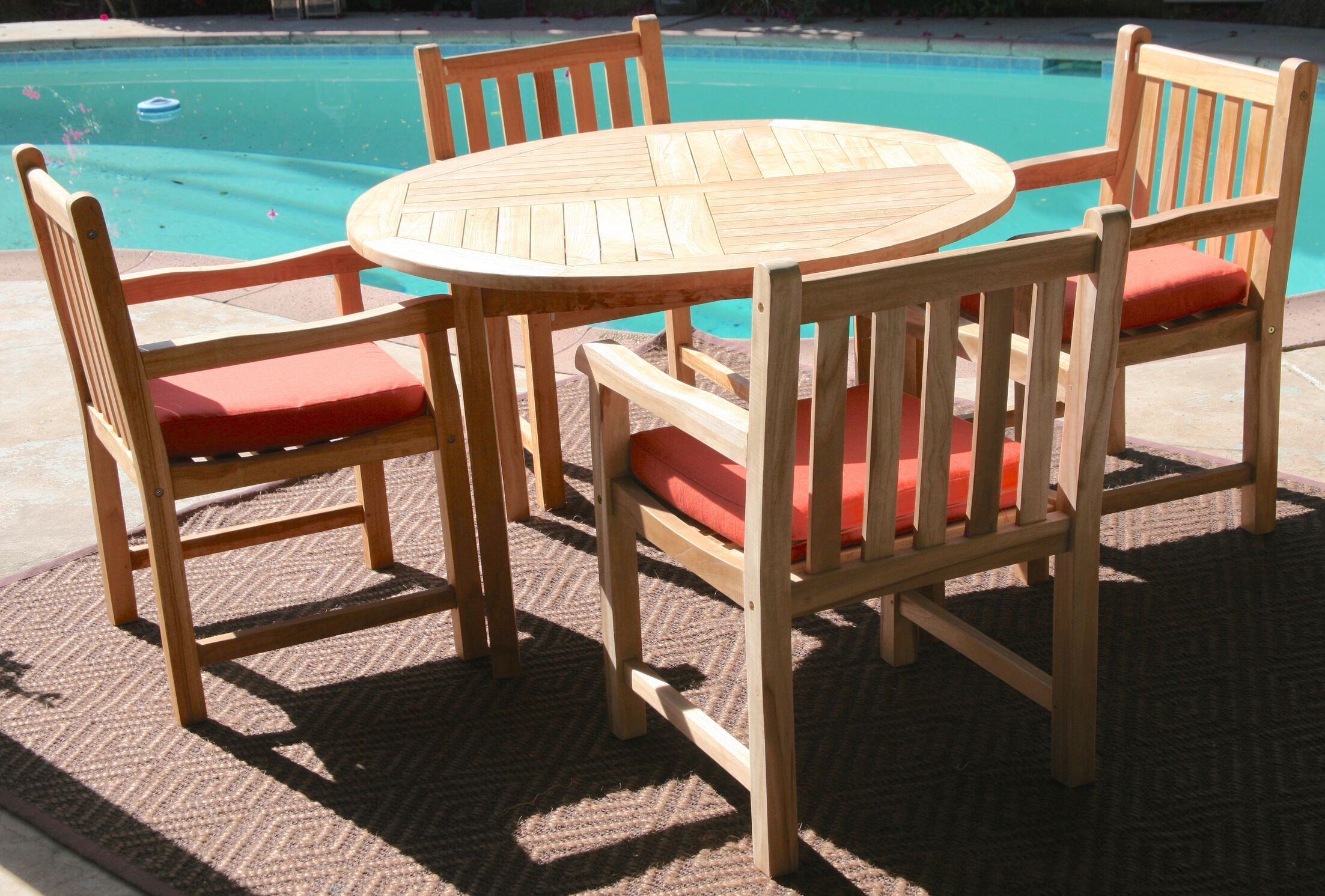Waterford 5 Piece Teak Dining Set with Sunbrella Cushions Cushion Color: Natural