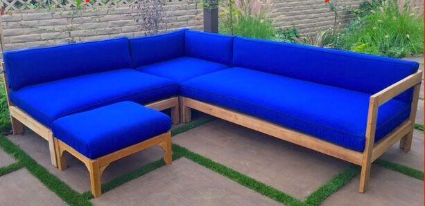 Manhattan 4 Piece Teak Sunbrella Sectional Set with Cushions Fabric: Air Blue
