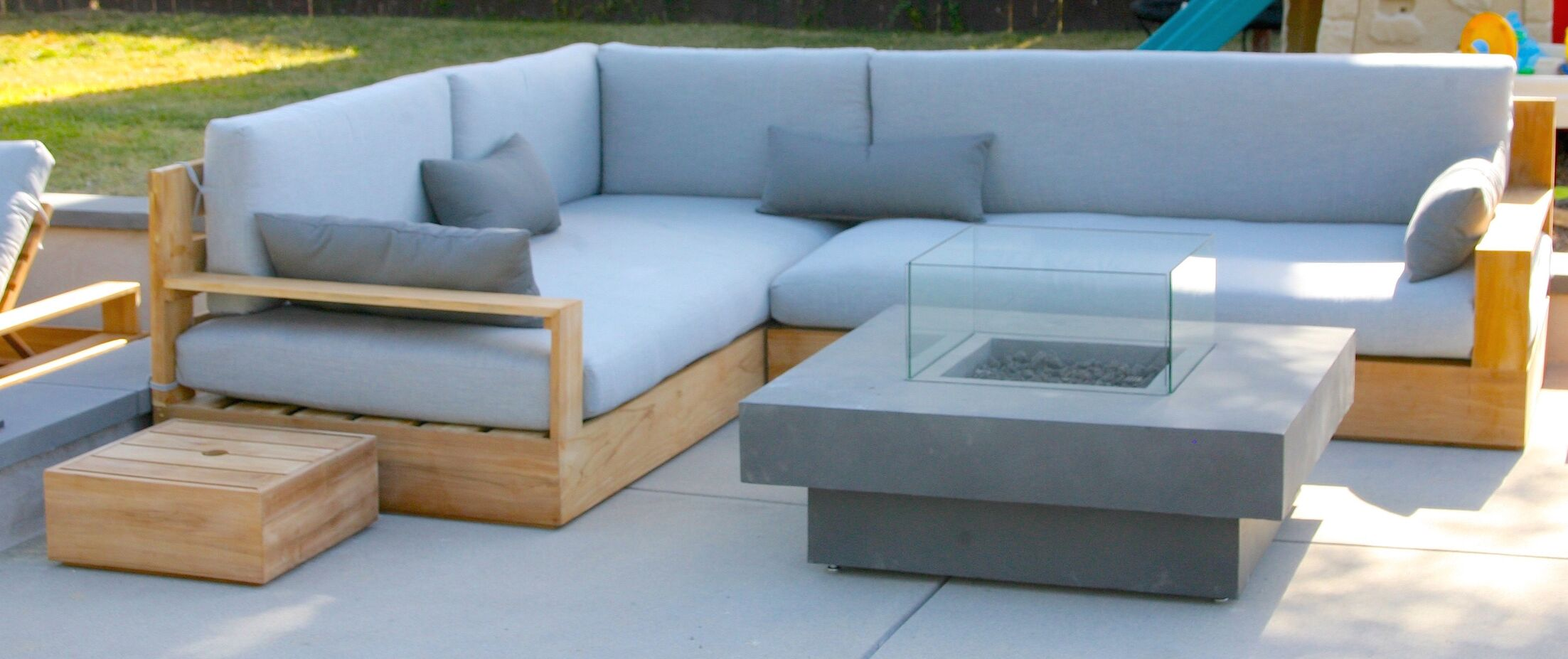 Bale 3 Piece Teak Sunbrella Sectional Set with Cushions Fabric: Brick