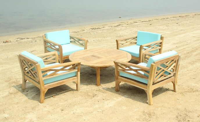 Malibu 5 Piece Teak Sunbrella Conversation Set with Cushions Fabric: Iris