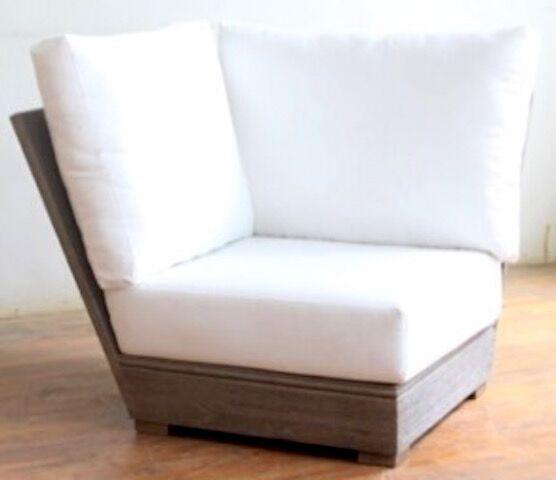 Constance Teak Outdoor Sectional Corner Chair with Sunbrella Cushion Fabric: Air Blue
