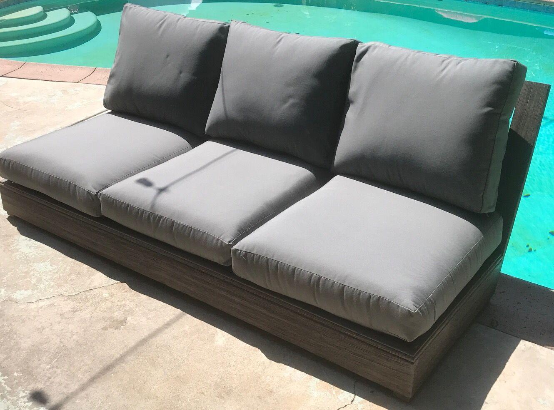 Yandell Teak Sunbrella Sofa Cushions Fabric: Dove