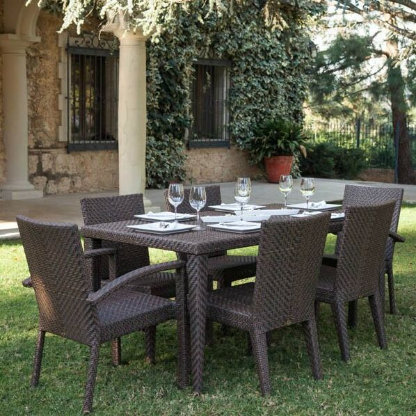 Soho 7 Piece Dining Set Color: Regency Sand