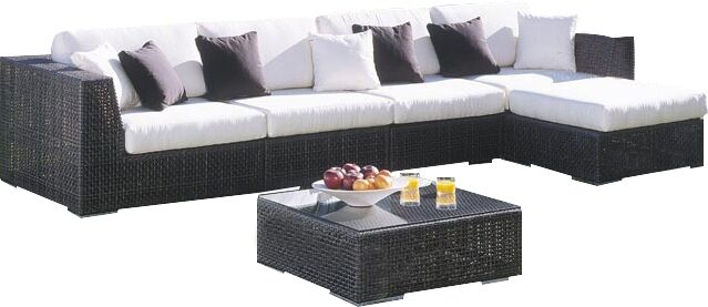 Soho 6 Piece Sectional Seating Group with Sunbrella Cushions Fabric: Bay Brown