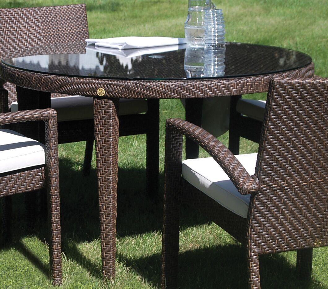 Ferrero Patio Woven Round Dining Table with Umbrella Hole