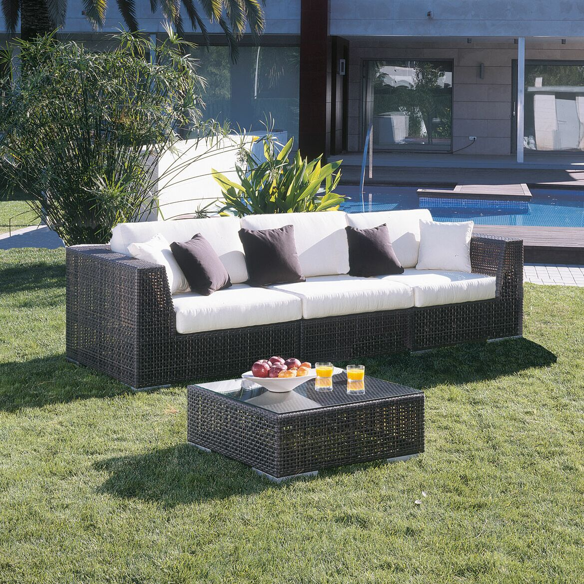 Soho Patio Sofa with Sunbrella Cushions Color: Canvas Spa