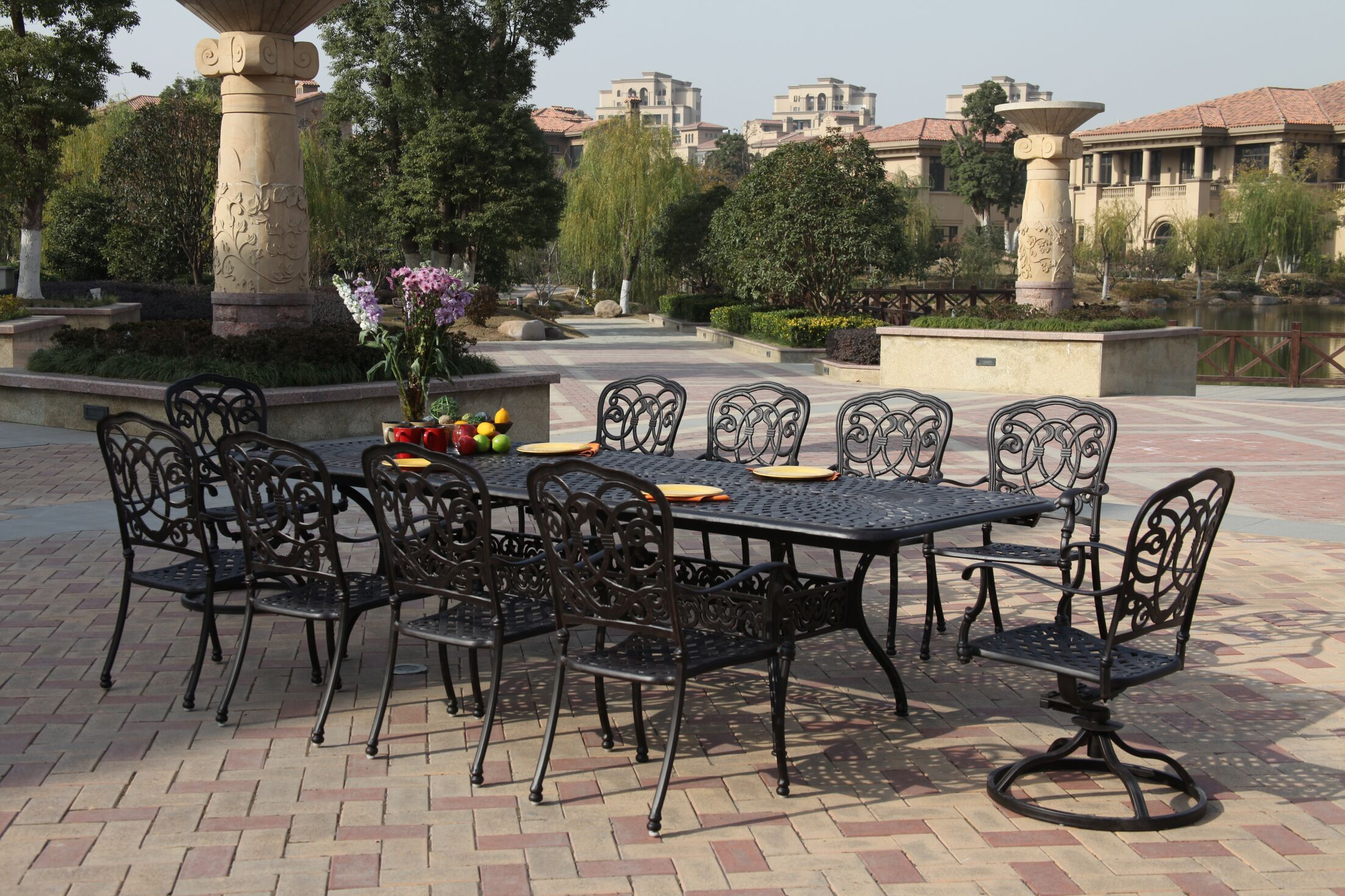 Dolby 11 Piece Dining Set with Cushions Color: Antique Bronze