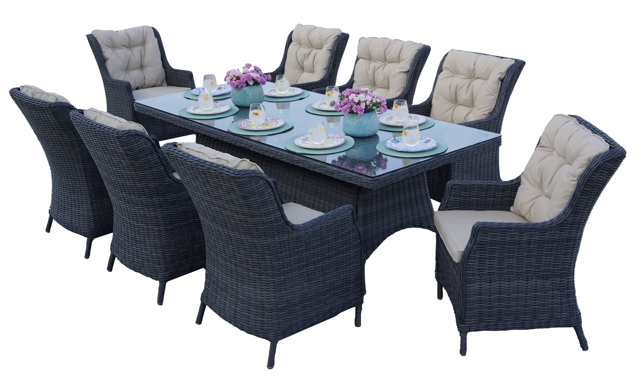 Audra 9 Piece Dining Set with Cushions