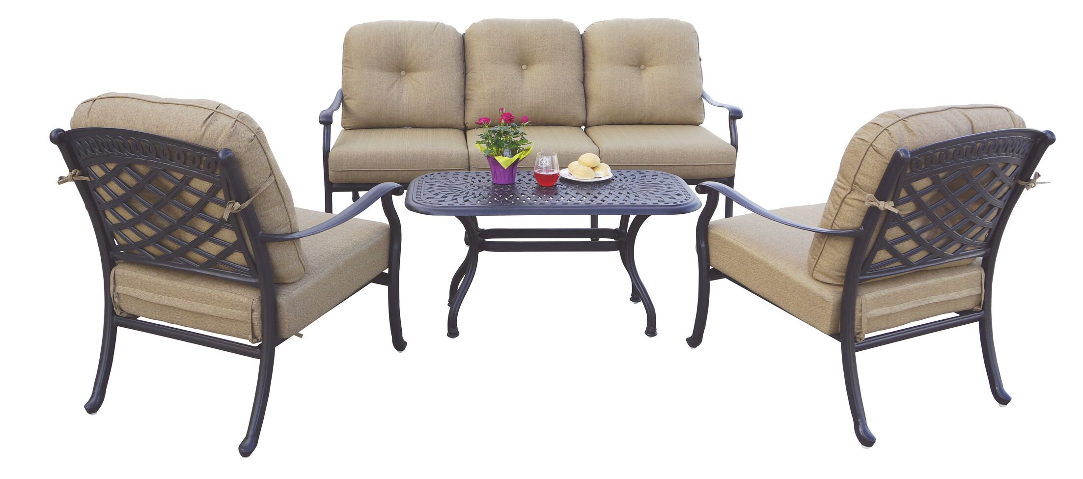 Thompson 4 Piece Sofa Set with Cushions Frame Color: Antique Bronze